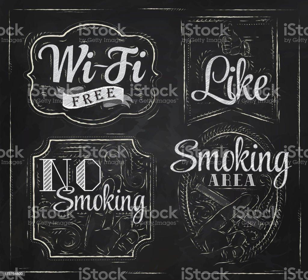 Set signs Wi fi free no smoking like vector art illustration