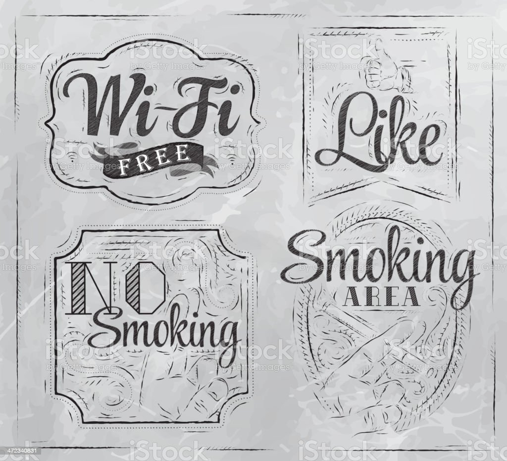 Set signs Wi-fi free no smoking like coal royalty-free stock vector art