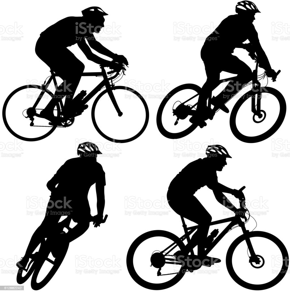 Set silhouette of a cyclist male and female.  vector illustratio vector art illustration