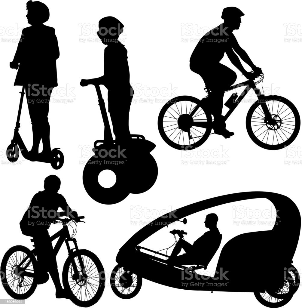 Set silhouette of a cyclist. vector art illustration