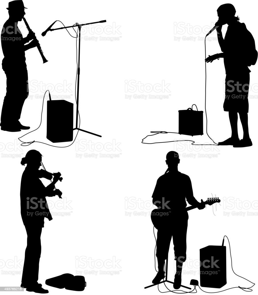 Set  silhouettes  musicians playing musical instruments. Vector vector art illustration