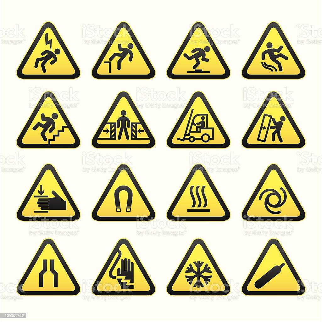 Set Simple of Triangular Warning Hazard Signs stock photo