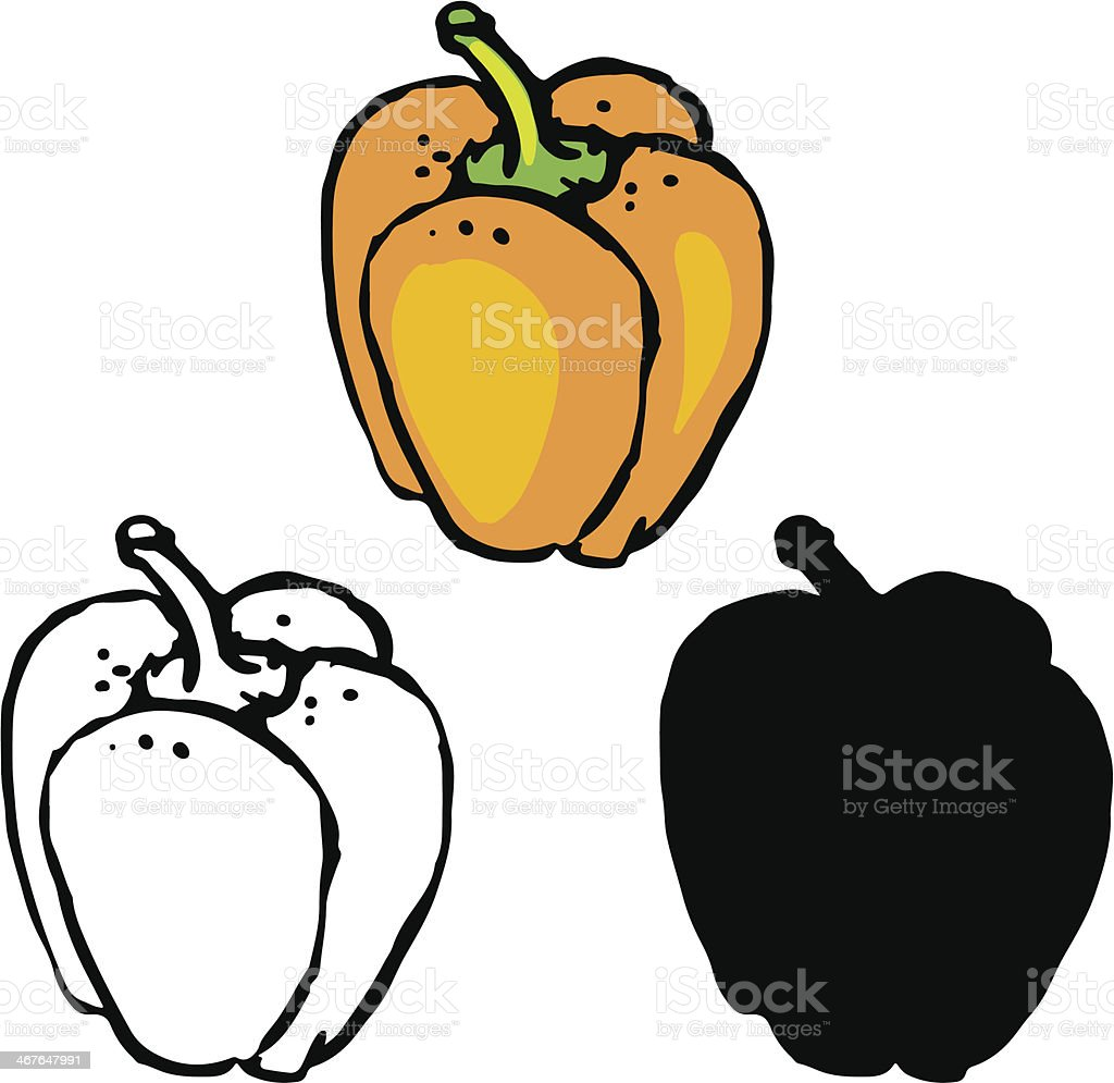 Set sketch bell peppers royalty-free stock vector art