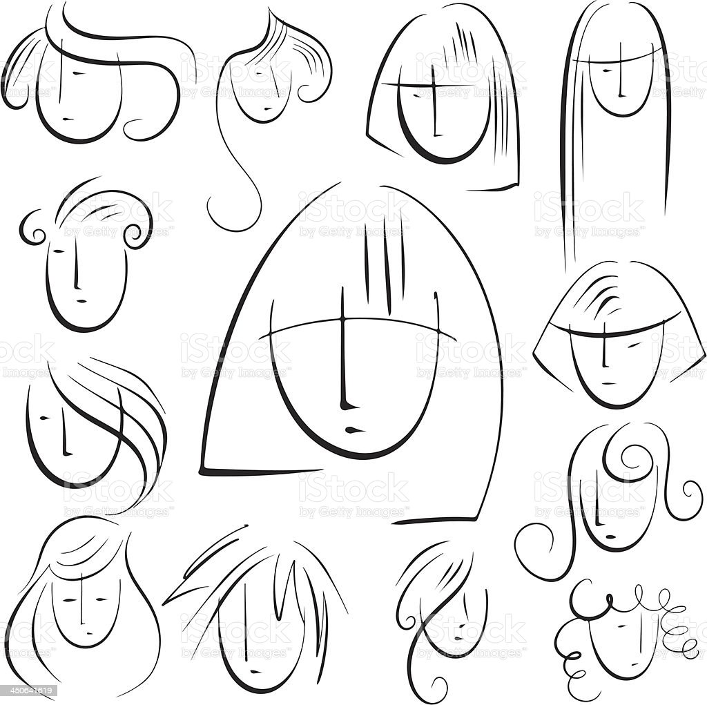 Set sketch hairstyles royalty-free stock vector art