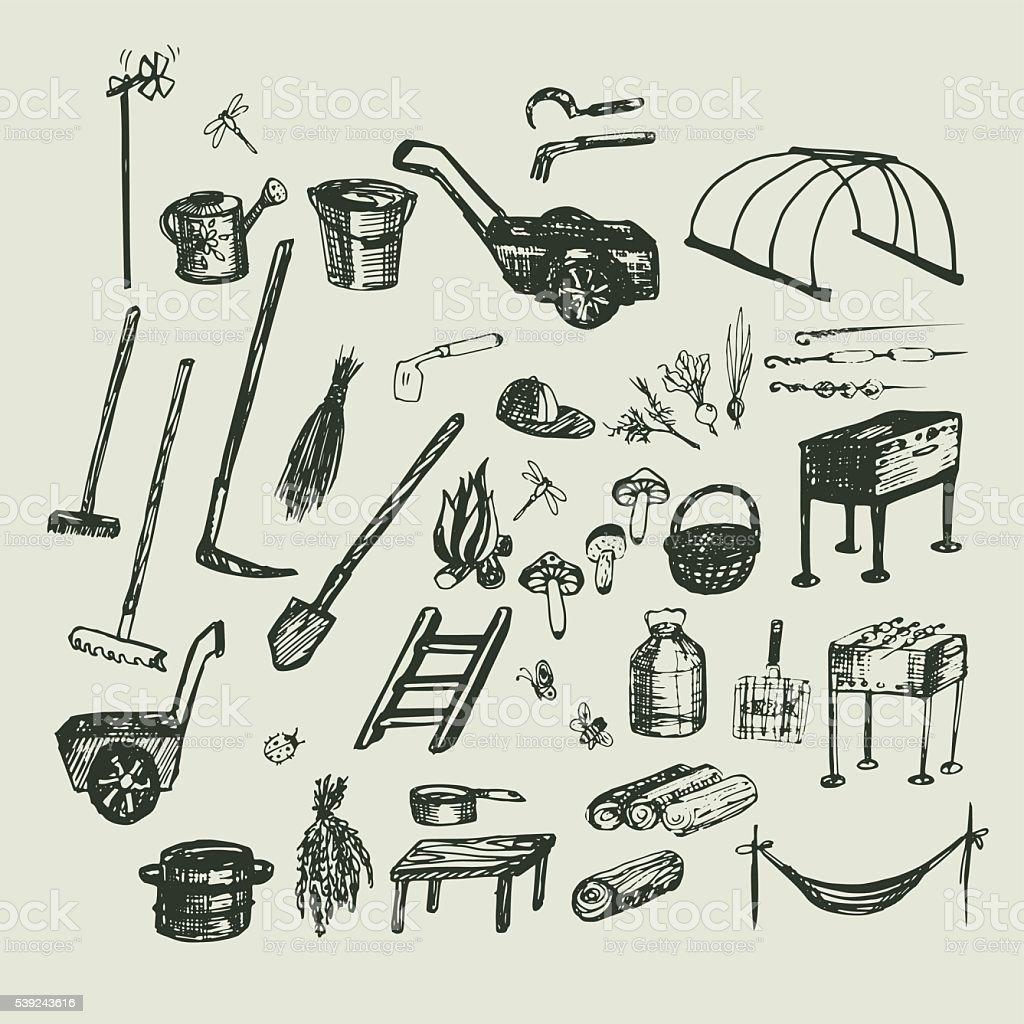 Set Sketch vector illustration, gardening, vacation and holidays vector art illustration