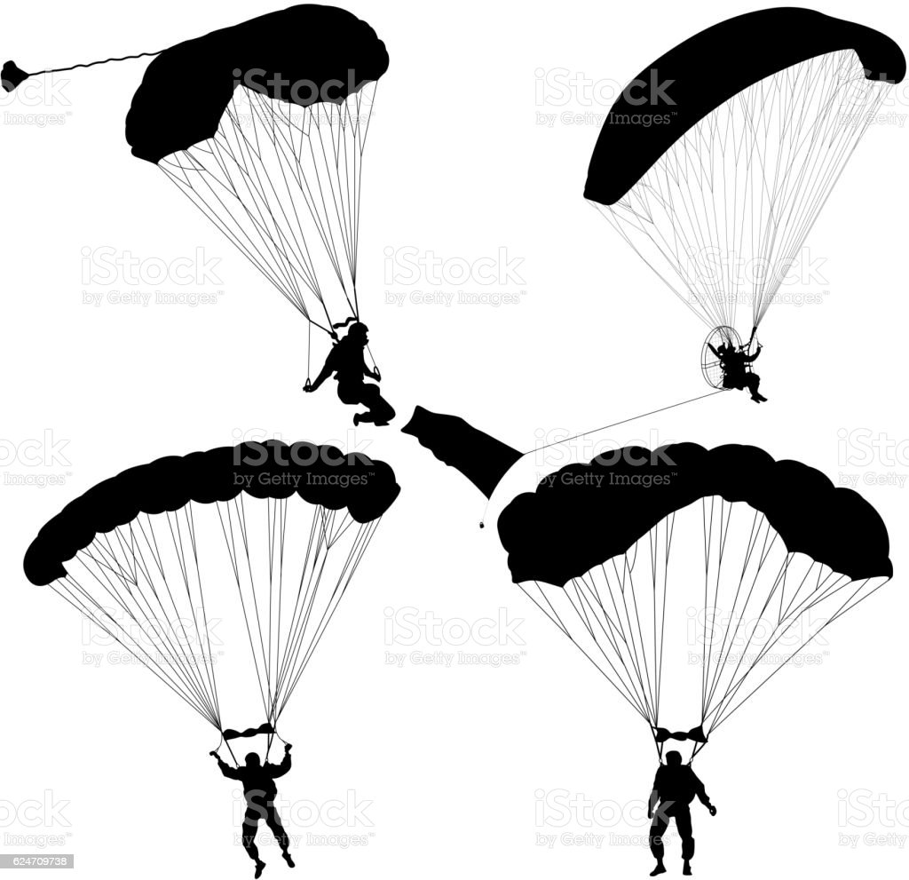 Set skydiver, silhouettes parachuting vector illustration vector art illustration