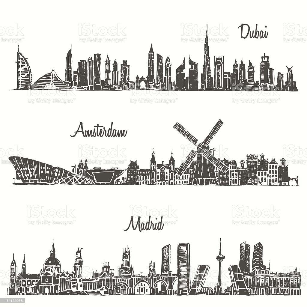 Set skylines Dubai Madrid Amsterdam drawn sketch vector art illustration