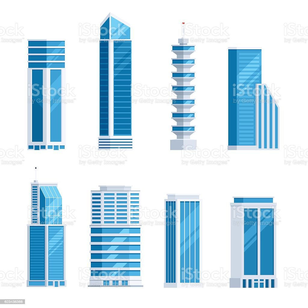 Set skyscrapers buildings vector art illustration