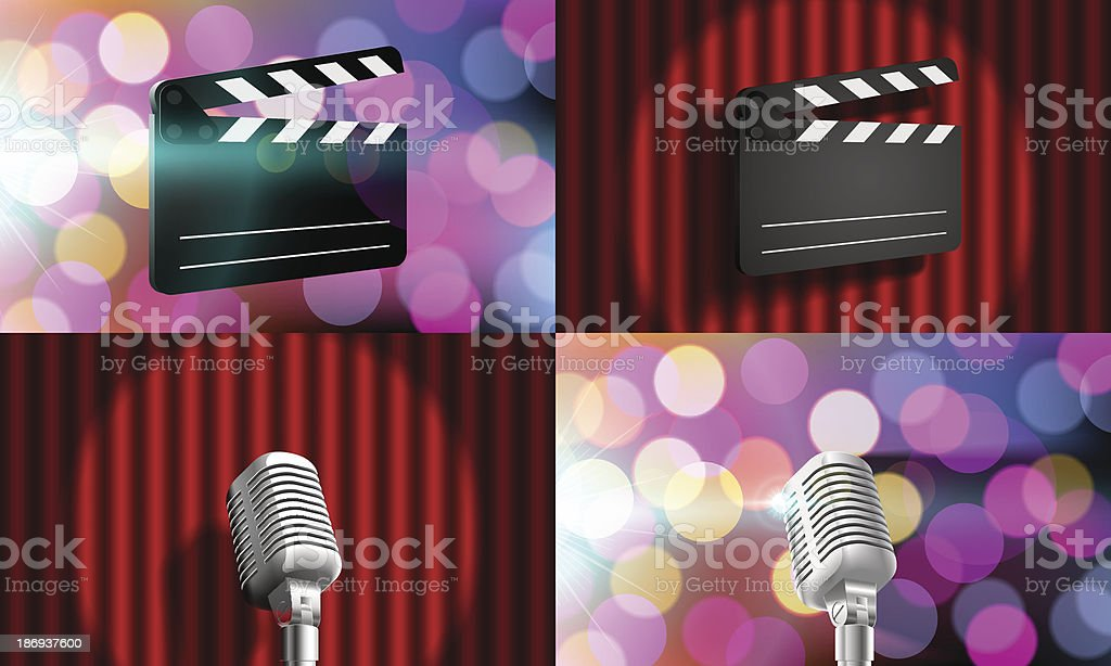 set slate, microphone on stage royalty-free stock vector art