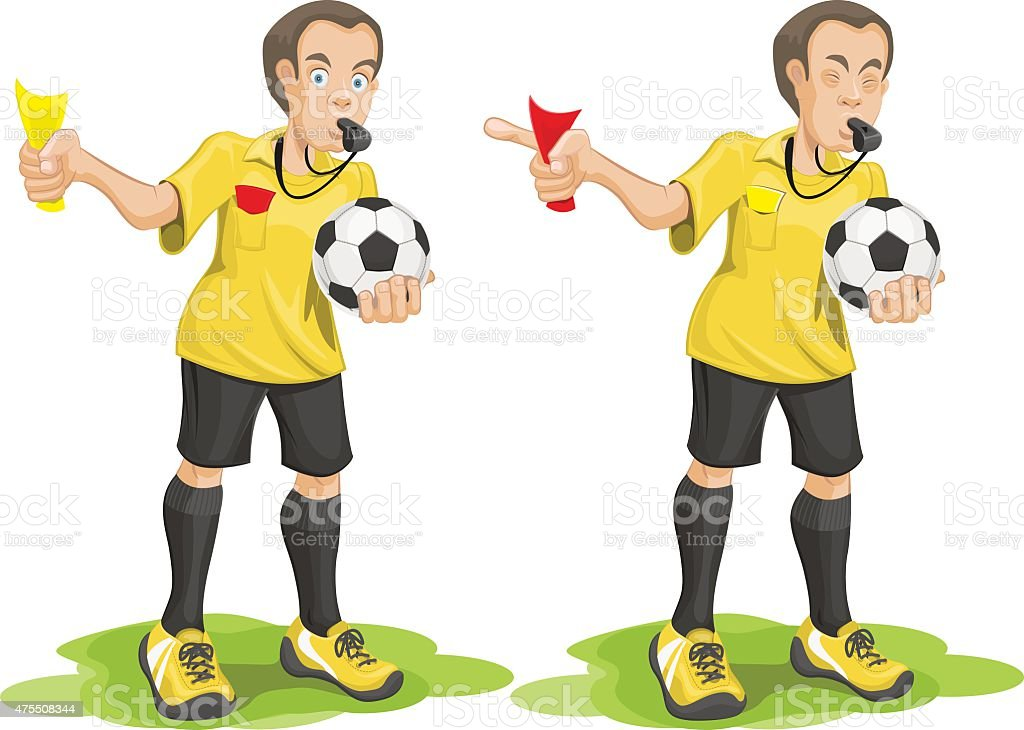 Set soccer referee whistles and shows card. vector art illustration