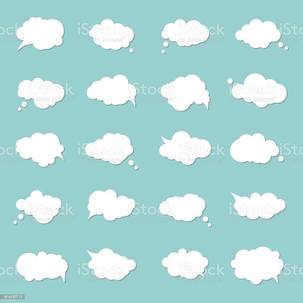 Set speech bubbles, pop art style. Think cloud, comic book vector art illustration