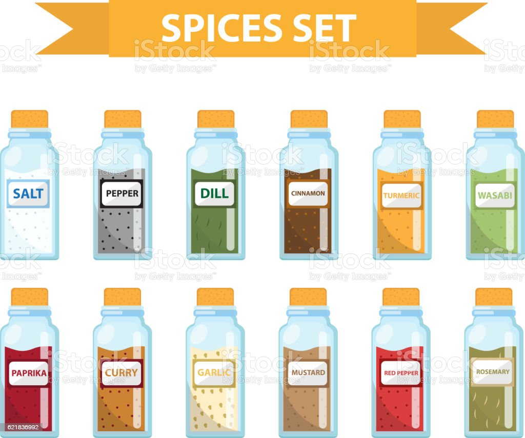 Set spices in jars, flat style. Set  spices, herbs vector art illustration
