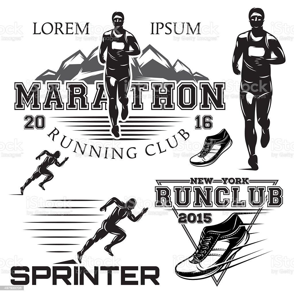 set sports emblems for the sprint and marathon vector art illustration