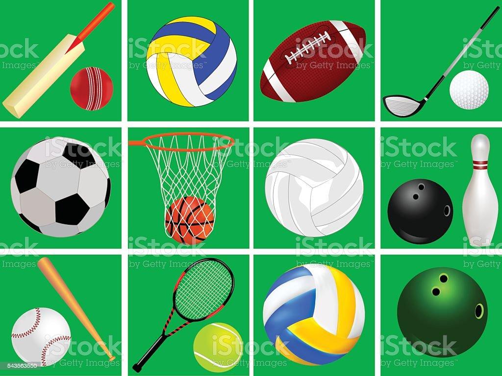 Set Sports Equipment vector art illustration