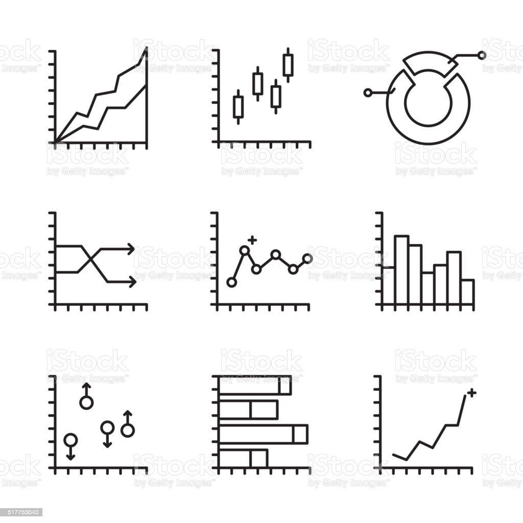 Set statistics icon vector art illustration