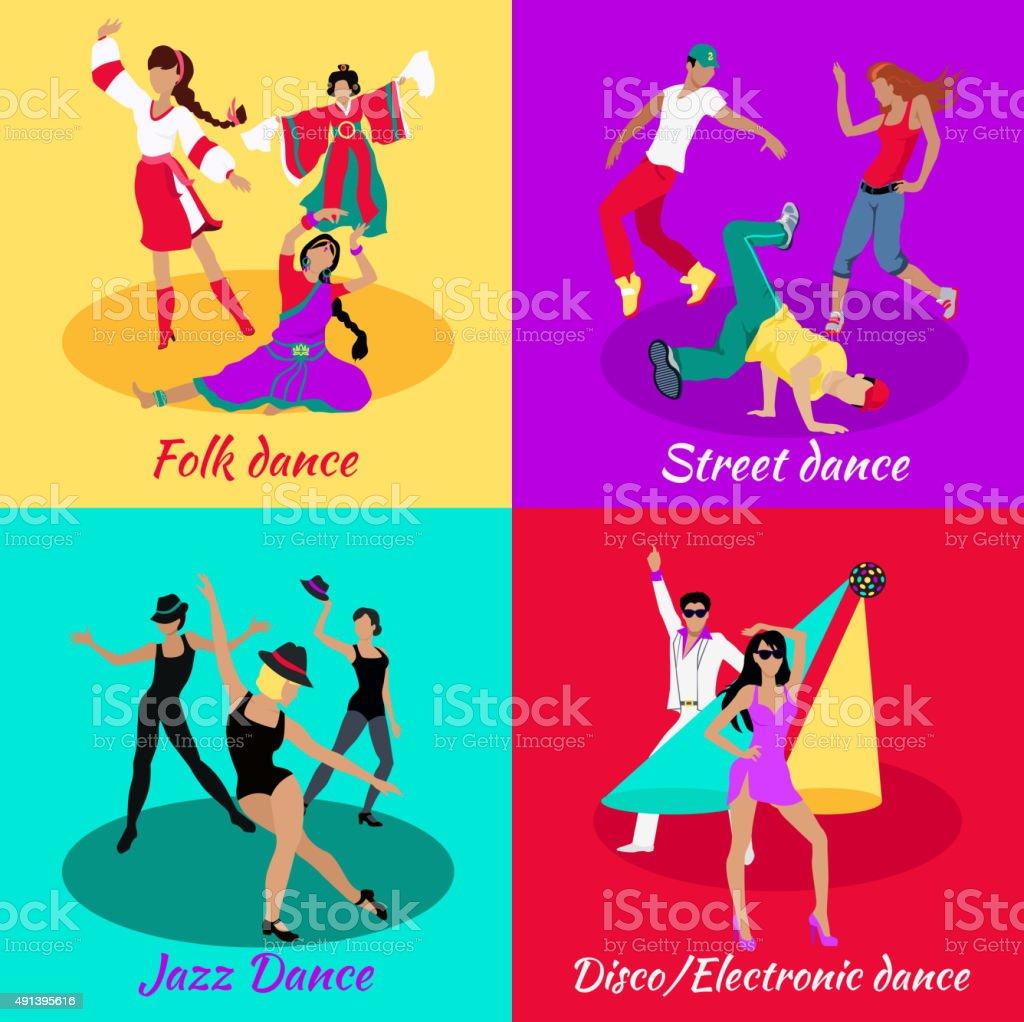 Set Street Folk Dance Jazz and Disco vector art illustration