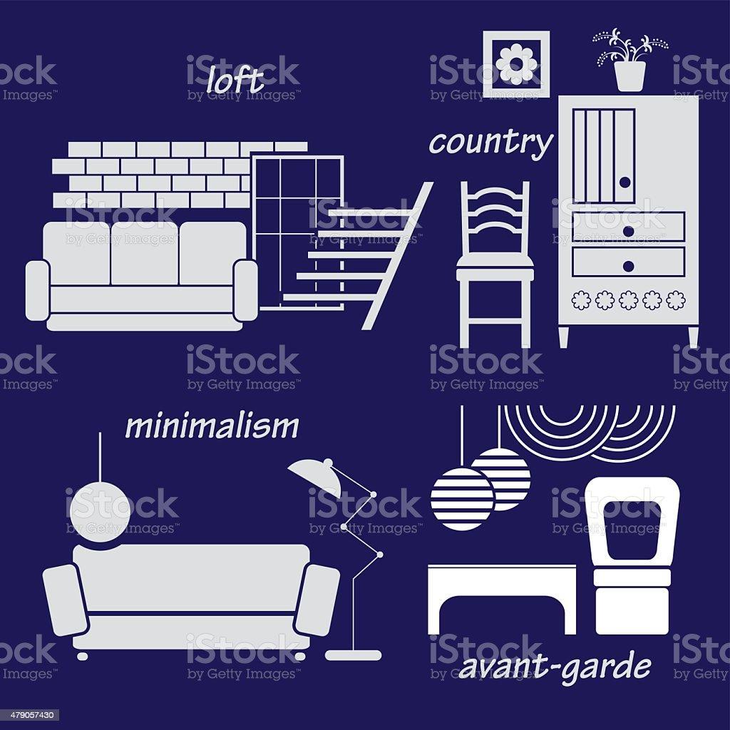 Set styles of interior design vector art illustration