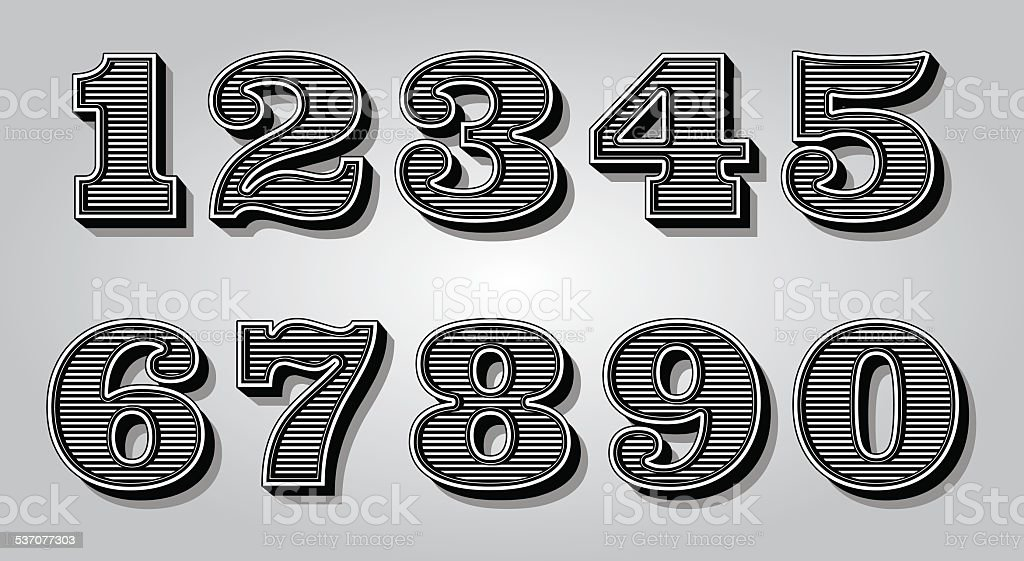 set stylized digits for design certification, invitations vector art illustration