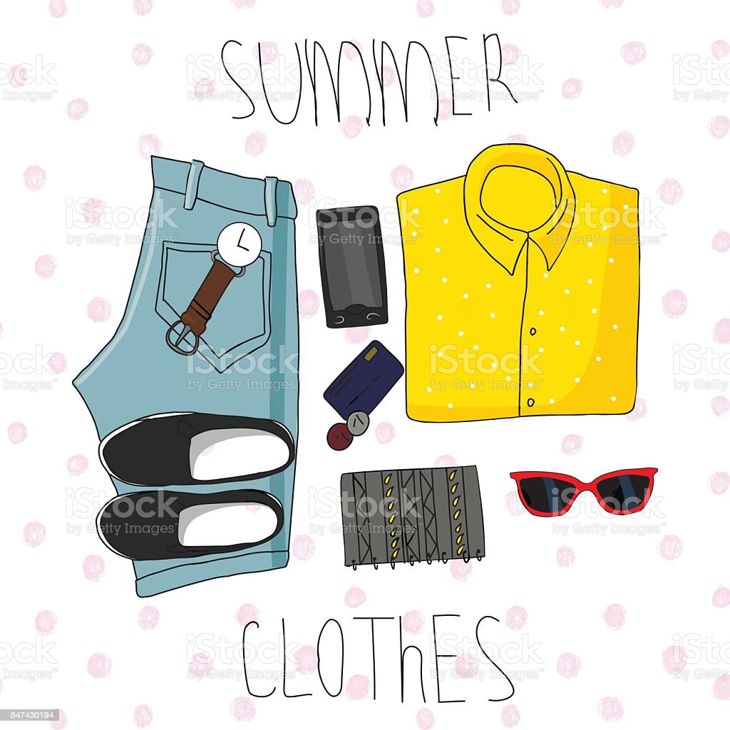 set summer clothing vector art illustration