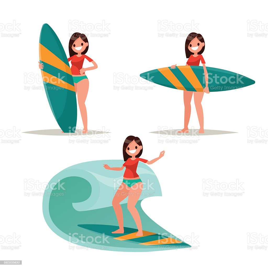 Set surfer girl. Posing with surfboard, riding on the waves. vector art illustration