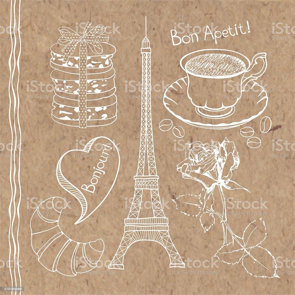 Set  symbols of France  on kraft paper background. vector art illustration