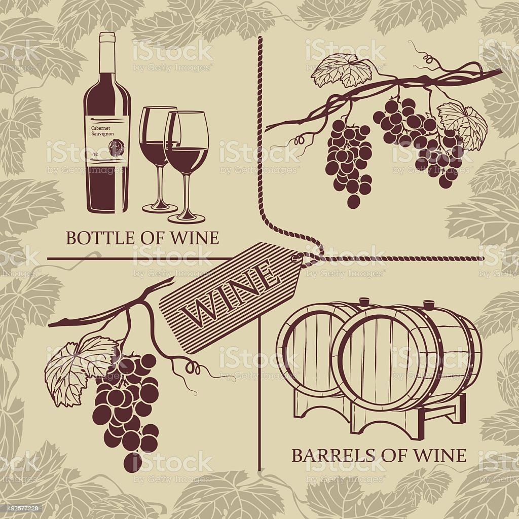 Set symbols on the theme of grapes and wine vector art illustration
