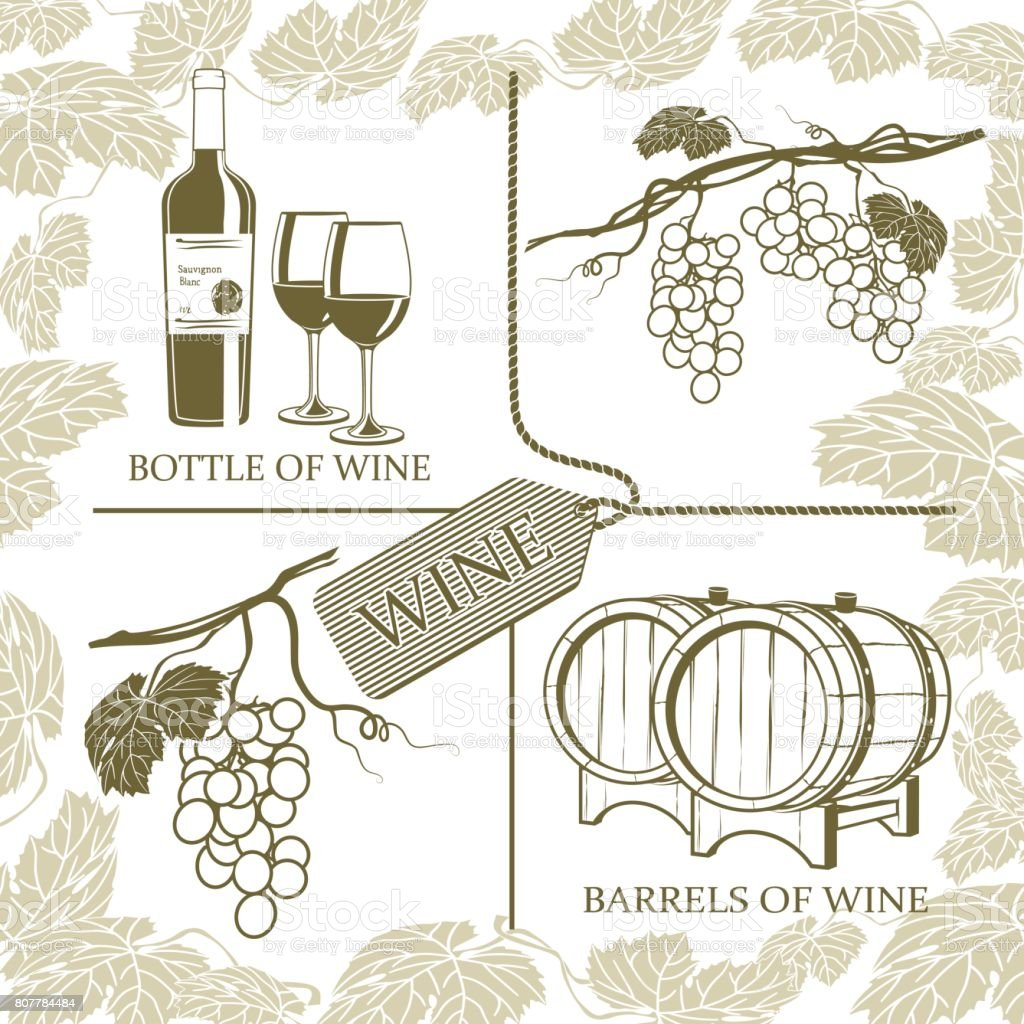 Set symbols on the theme of grapes, white wine and winemaking on a white background vector art illustration