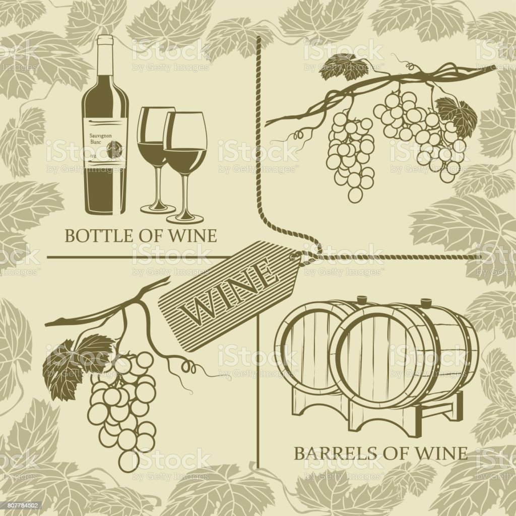 Set symbols on the theme of grapes, white wine and winemaking vector art illustration