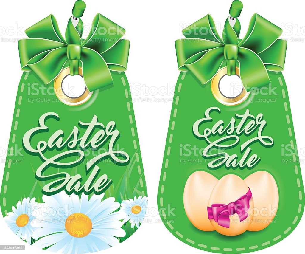 Set tag with bow vector art illustration