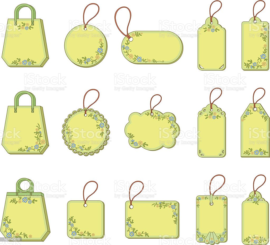 Set tags with floral pattern royalty-free stock vector art