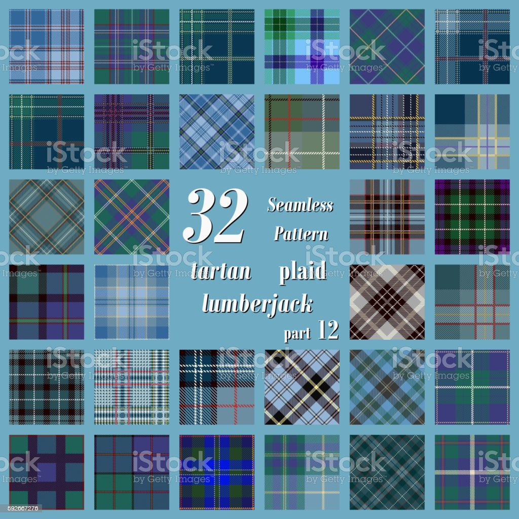 Set Tartan Seamless Pattern vector art illustration