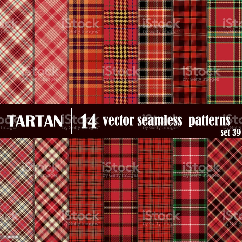 Set Tartan Seamless Pattern. vector art illustration