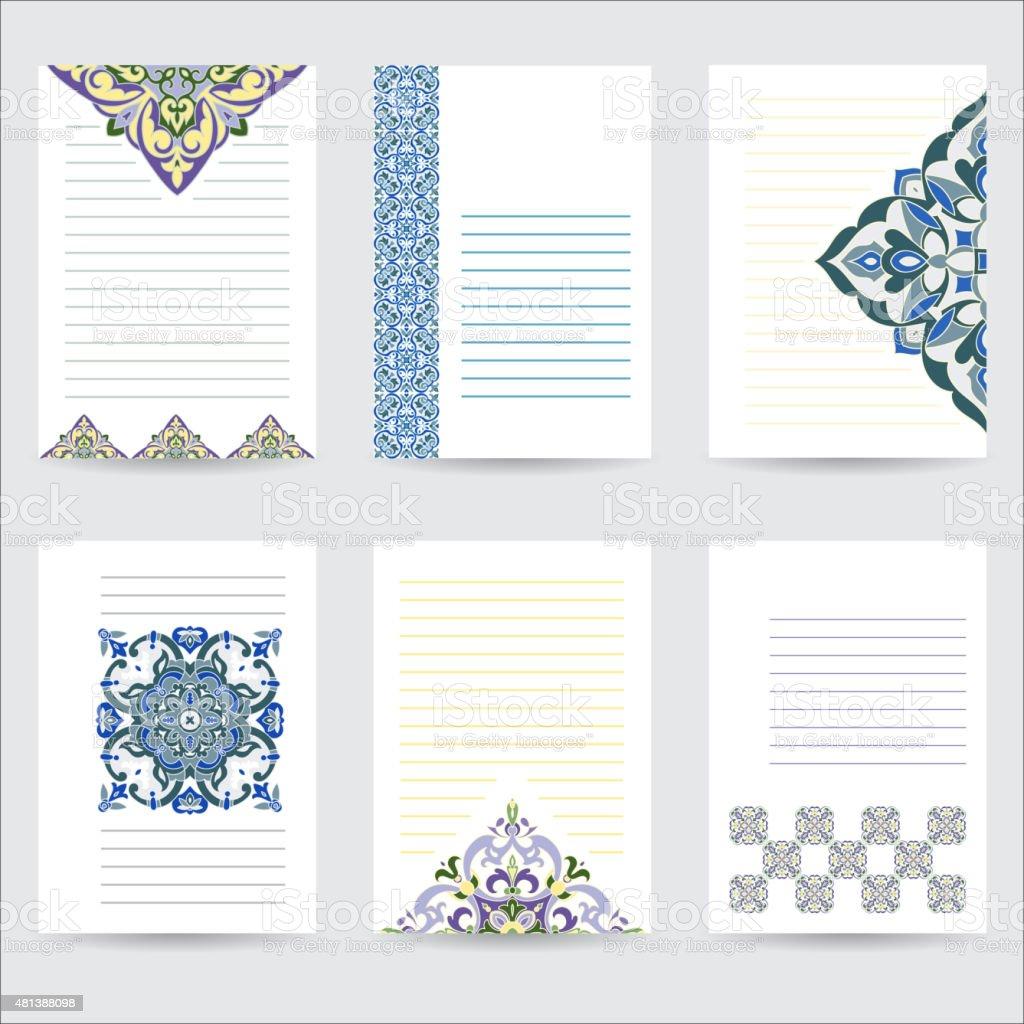 Set template color mandala in Italian majolica style vector art illustration