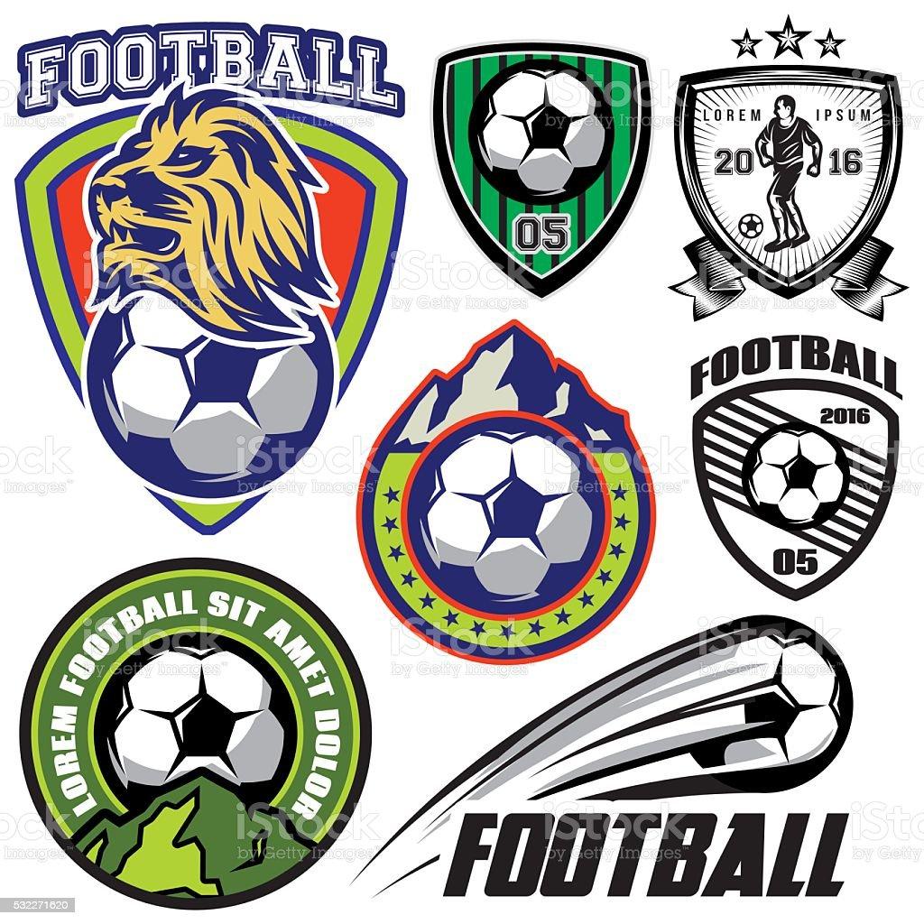 set template sports logos and design elements on theme football vector art illustration