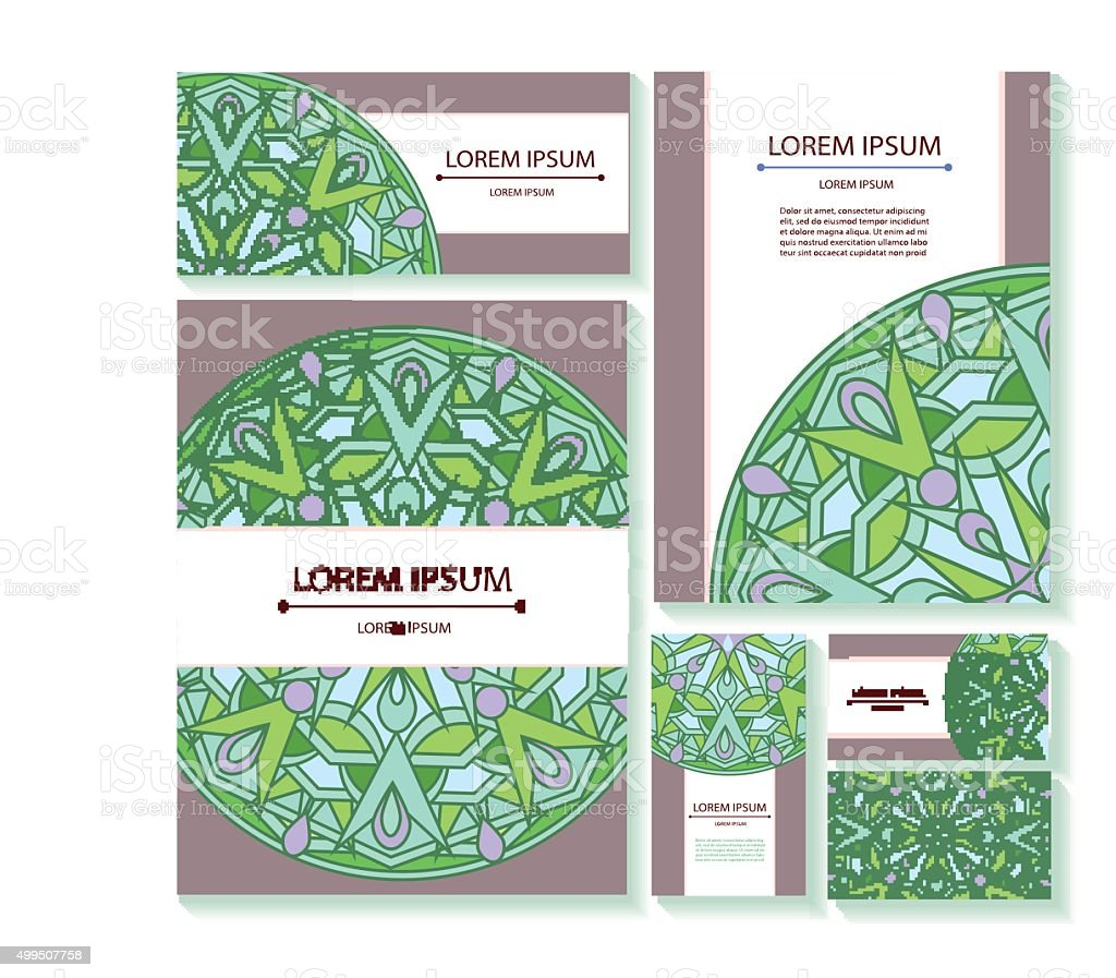set templates business cards and invitations mandalas 1 credit