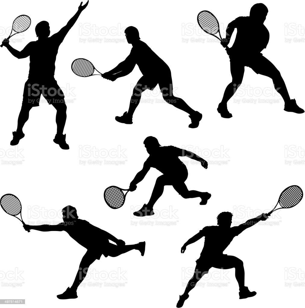 set tennis vector art illustration