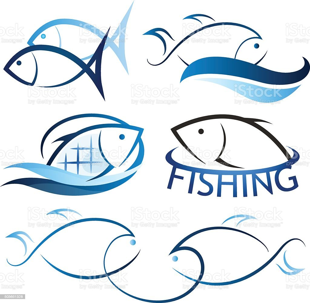 Set the fish on waves vector art illustration