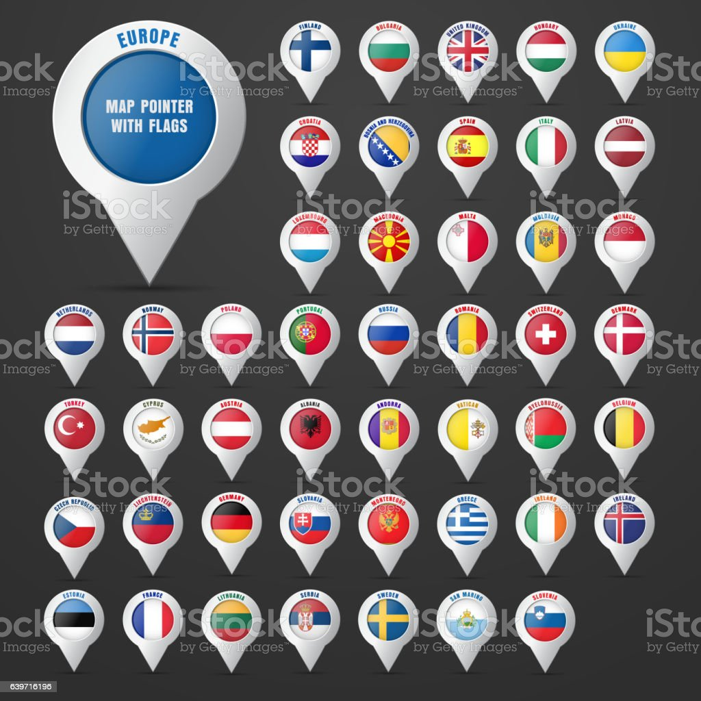 Set the pointer to the map with the  European vector art illustration