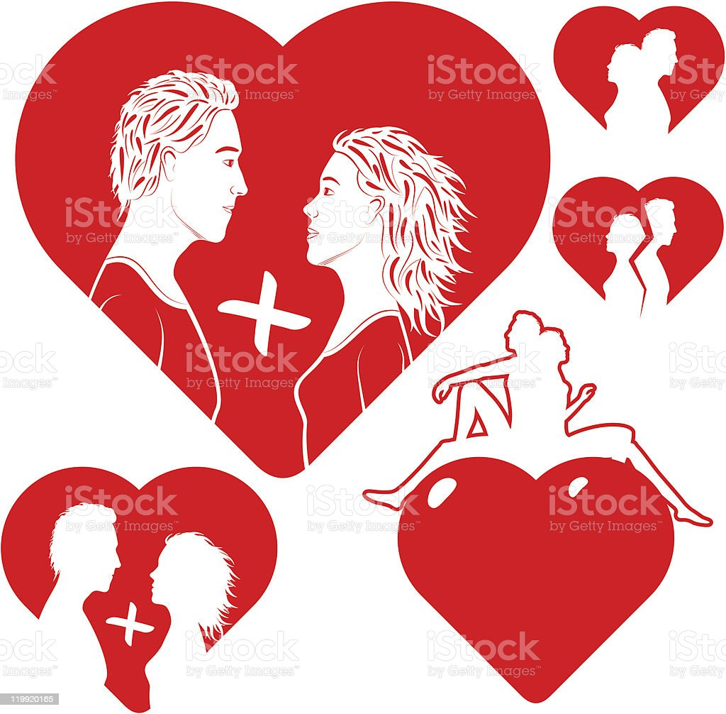 set the stylised of hearts with lovers royalty-free stock vector art