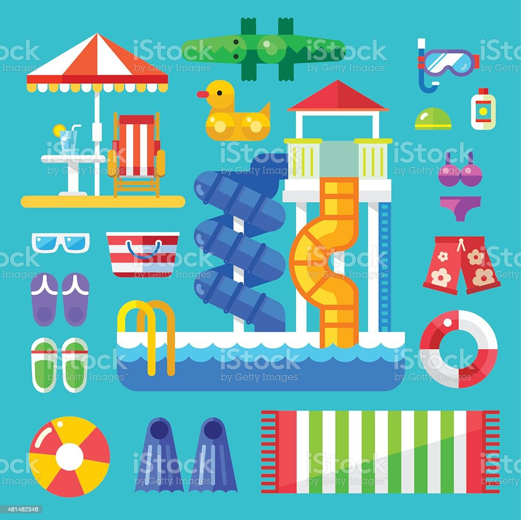 Set the water park visitor. vector art illustration