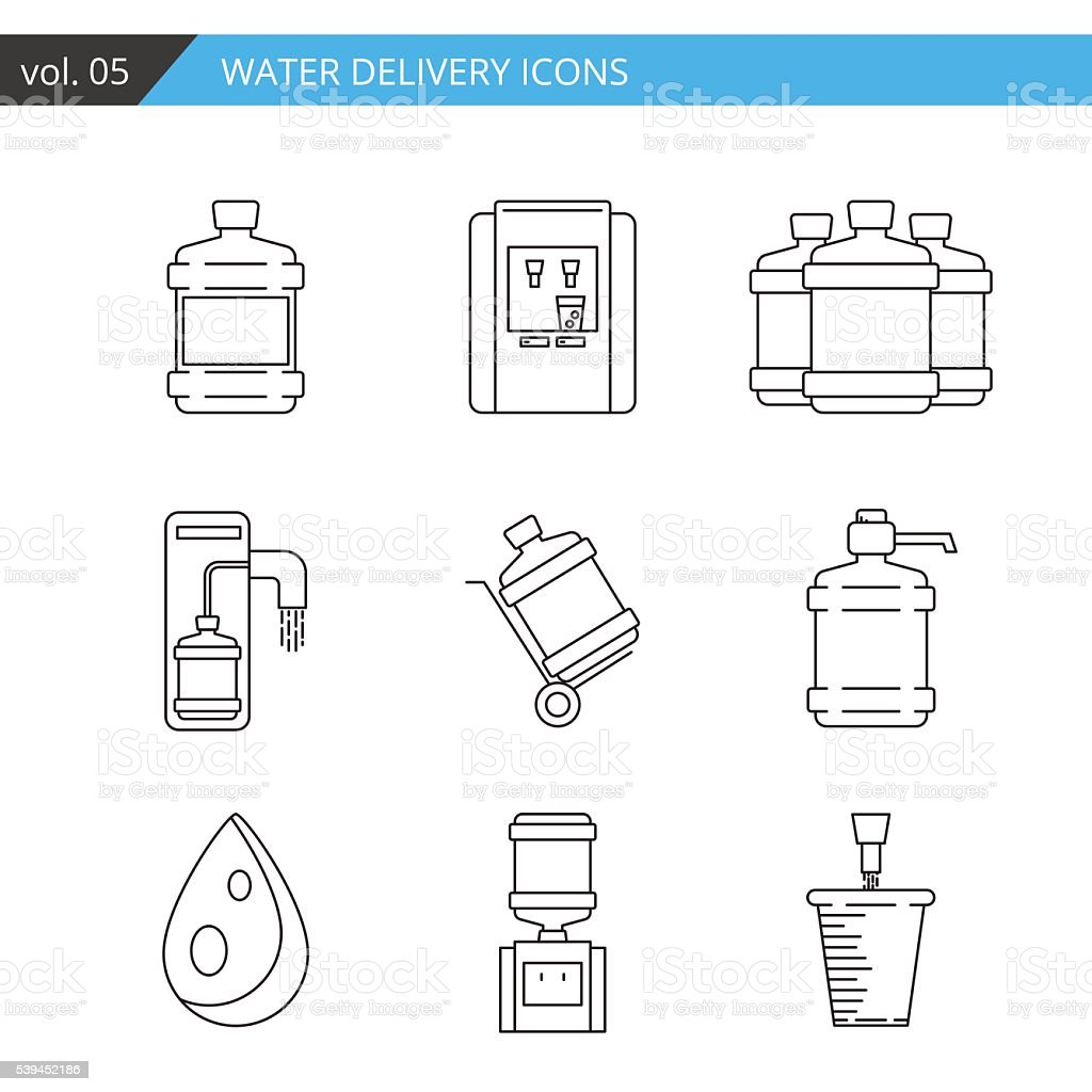 Set thin line water delivery icon isolated on white background, vector art illustration