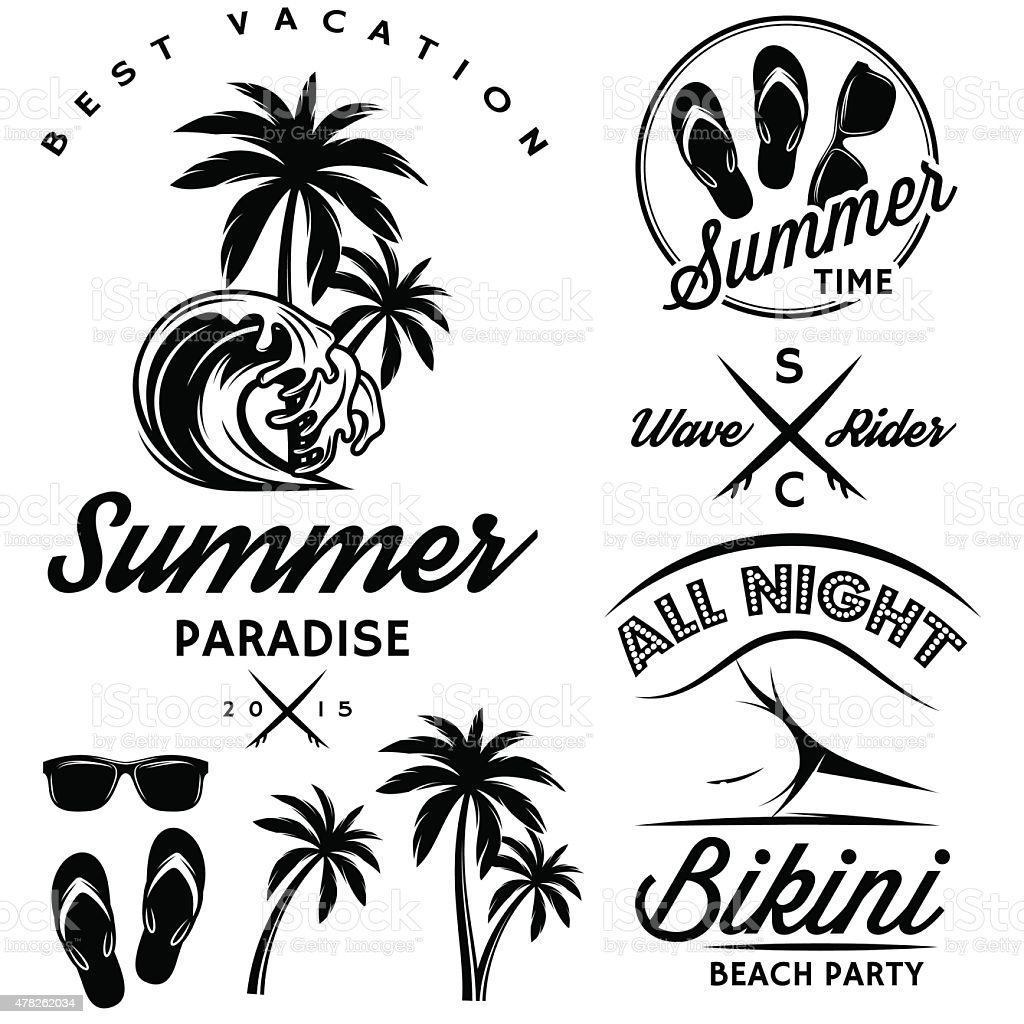 set to topic summer with bikini party, sunglasses, flip-flops vector art illustration
