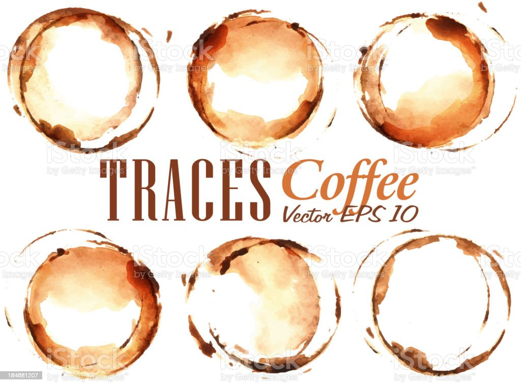 Set Traces Cup drawn pour coffee vector art illustration