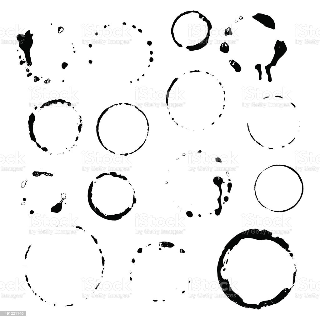 Set traces glass draw pour wine splashes and spot print vector art illustration
