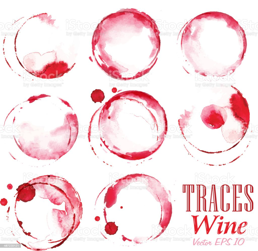 Set traces red wine marks vector art illustration