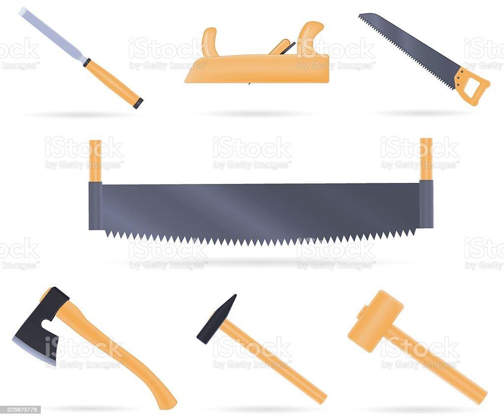 Set traditional tools of the carpenter vector art illustration