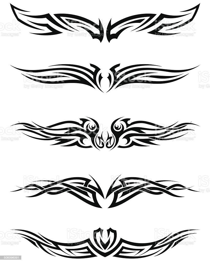 Set tribal tattoos vector art illustration