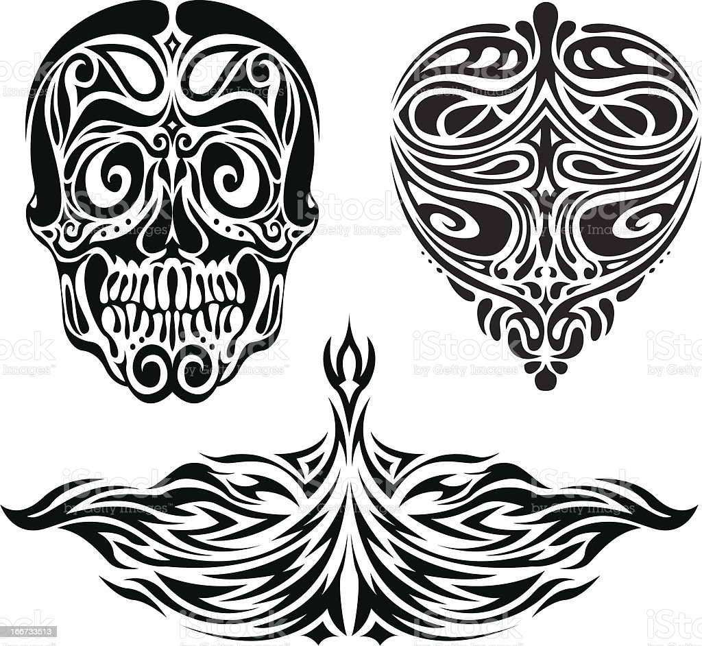 Set tribe face vector art illustration