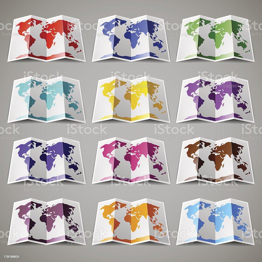 Набор 12 цветной карты мира векторная иллюстрация