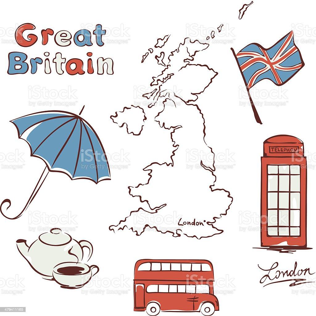 Set - United Kingdom vector art illustration